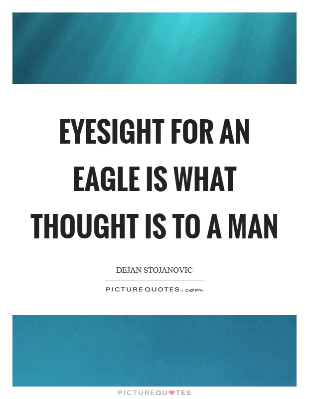 Eyesight for an eagle is what thought is to a man Picture Quote #1