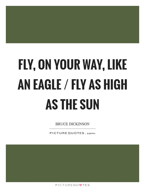 Fly, on your way, like an eagle / Fly as high as the Sun Picture Quote #1