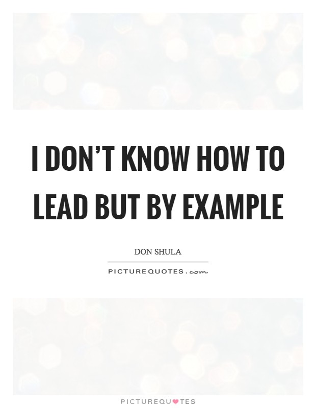 I don't know how to lead but by example Picture Quote #1