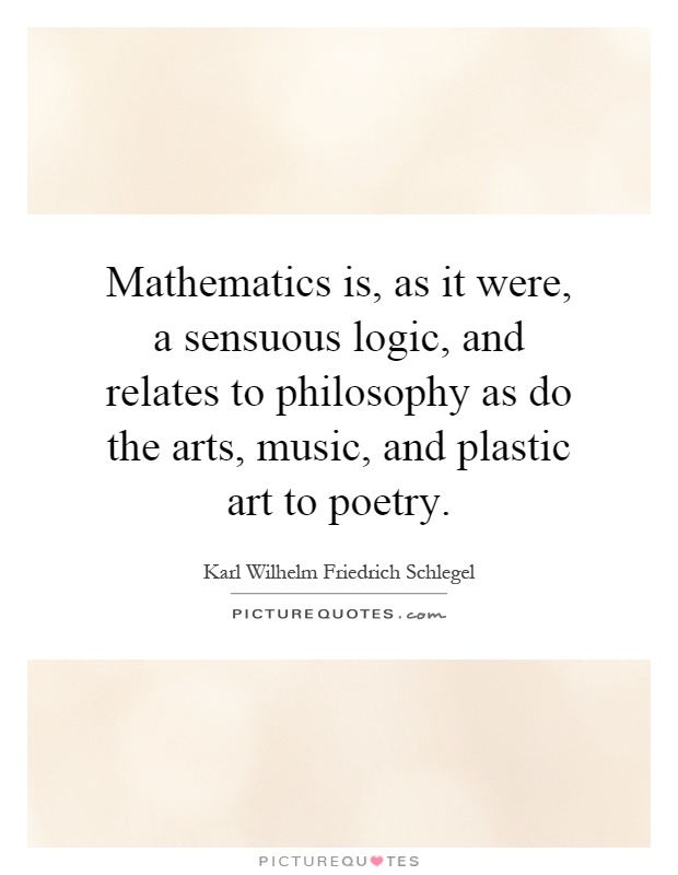 Mathematics is, as it were, a sensuous logic, and relates to philosophy as do the arts, music, and plastic art to poetry Picture Quote #1