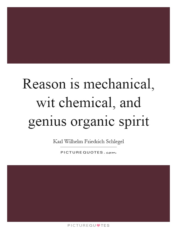 Reason is mechanical, wit chemical, and genius organic spirit Picture Quote #1