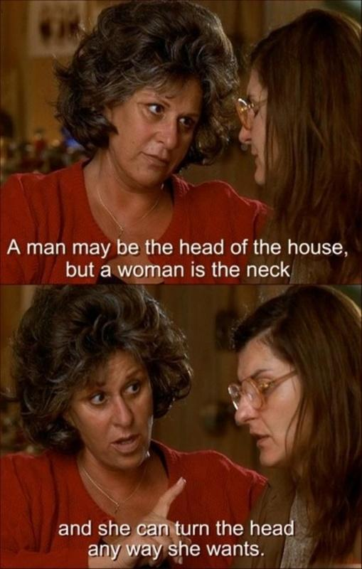 A man may be the head of the house, but a woman is the neck and she can turn the head any way she wants Picture Quote #1