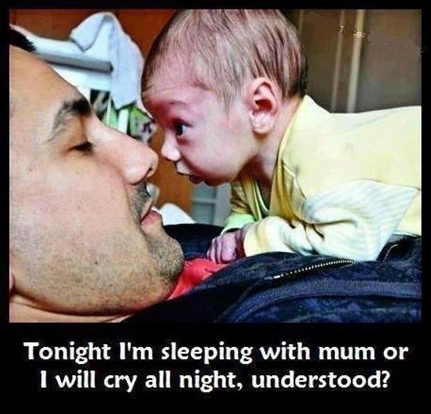 Tonight I'm sleeping with mum or I will cry all night, understood? Picture Quote #1