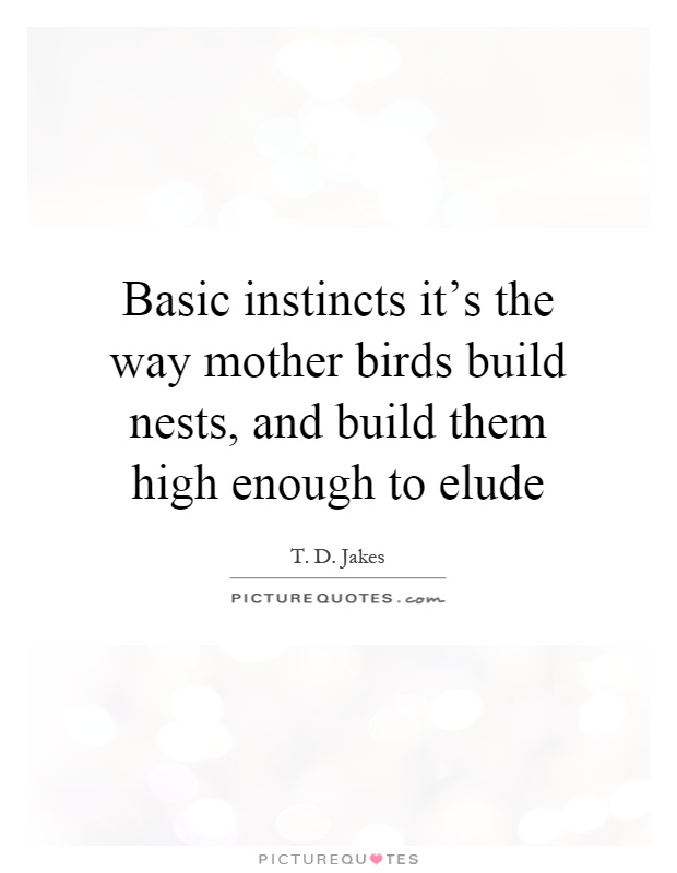 Basic instincts it's the way mother birds build nests, and build them high enough to elude Picture Quote #1