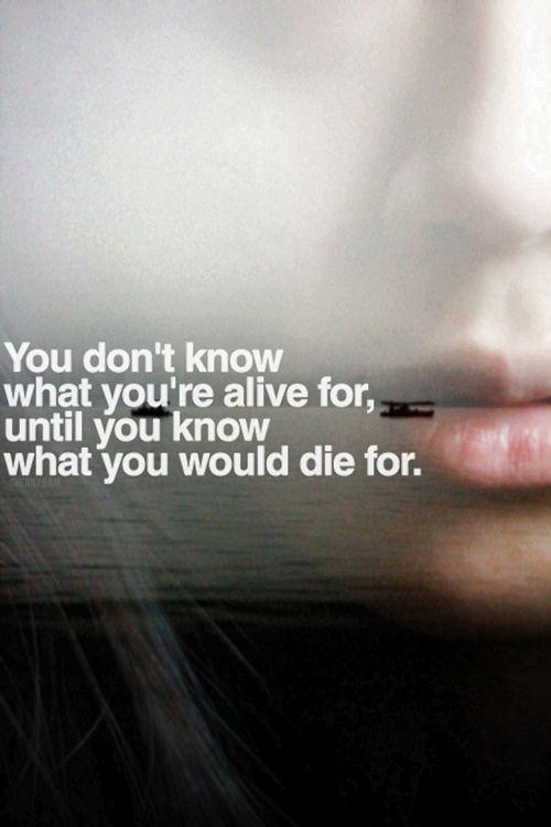 You don't know what you're alive for, until you know what you would die for Picture Quote #1