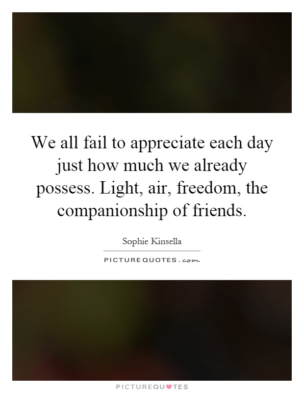 We all fail to appreciate each day just how much we already possess. Light, air, freedom, the companionship of friends Picture Quote #1
