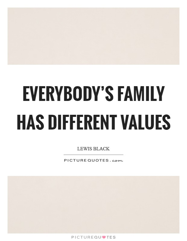 Everybody's family has different values Picture Quote #1