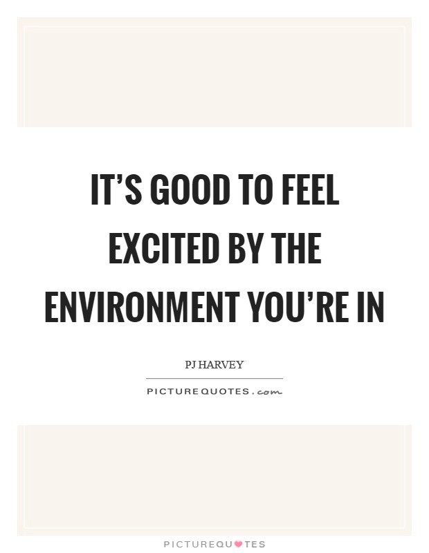 It's good to feel excited by the environment you're in Picture Quote #1