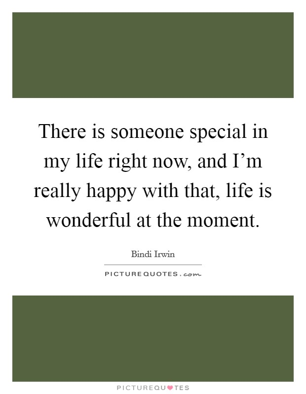 There is someone special in my life right now, and I'm really happy with that, life is wonderful at the moment. Picture Quote #1
