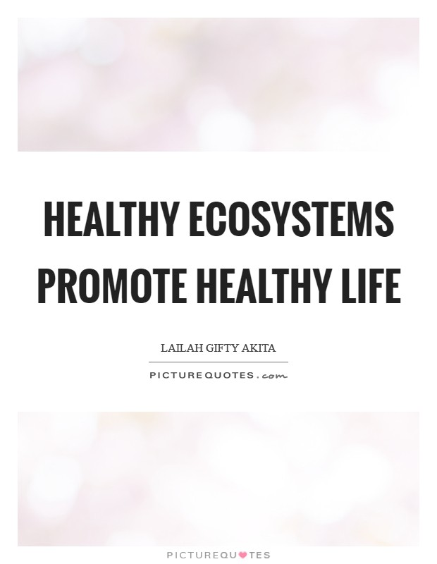 Healthy ecosystems promote healthy life Picture Quote #1
