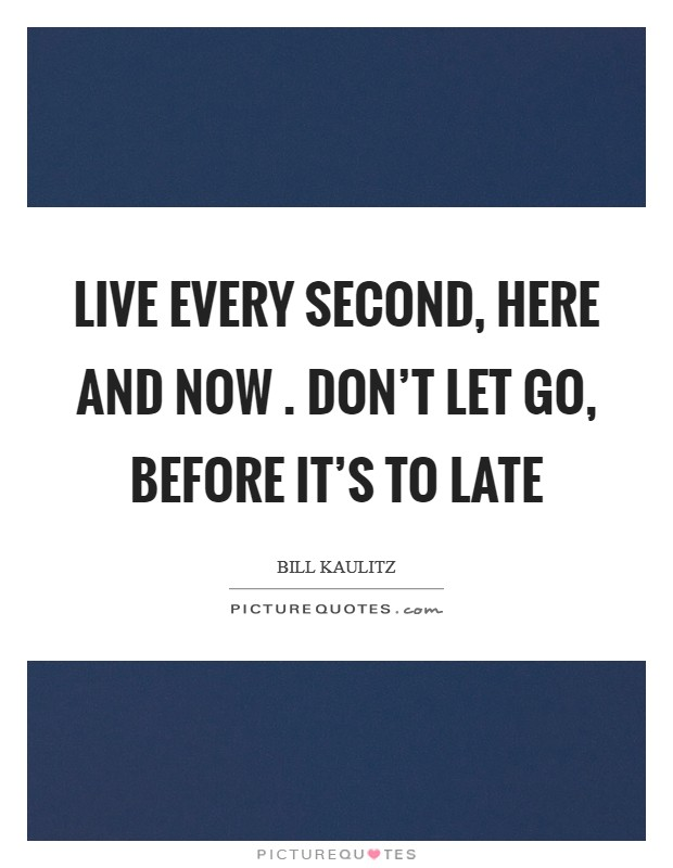 Live every second, Here and now . Don't let go, Before it's to late Picture Quote #1