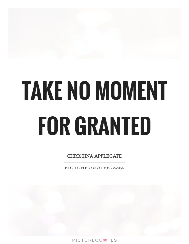 Take no moment for granted Picture Quote #1