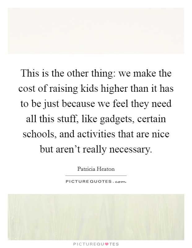 This is the other thing: we make the cost of raising kids higher than it has to be just because we feel they need all this stuff, like gadgets, certain schools, and activities that are nice but aren't really necessary Picture Quote #1