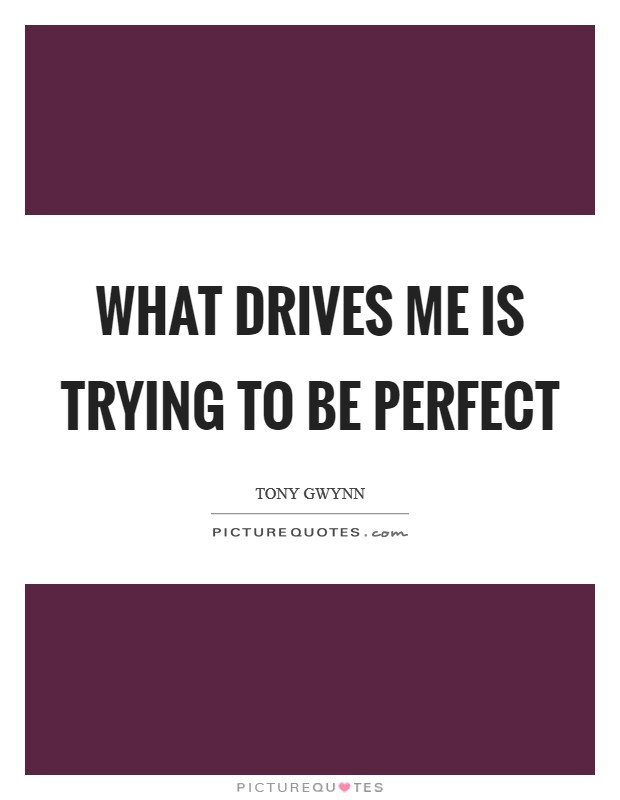 What drives me is trying to be perfect Picture Quote #1