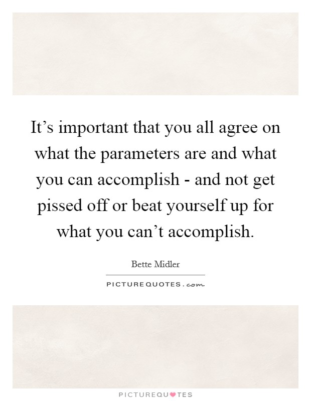 It's important that you all agree on what the parameters are and what you can accomplish - and not get pissed off or beat yourself up for what you can't accomplish Picture Quote #1