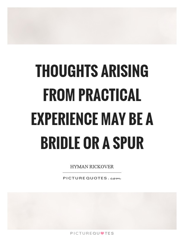 Thoughts arising from practical experience may be a bridle or a spur Picture Quote #1