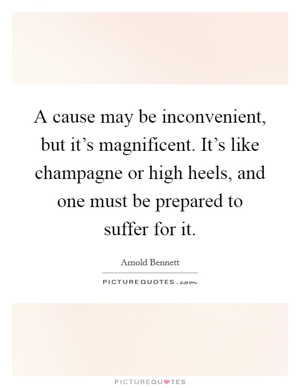 A cause may be inconvenient, but it's magnificent. It's like champagne or high heels, and one must be prepared to suffer for it. Picture Quote #1