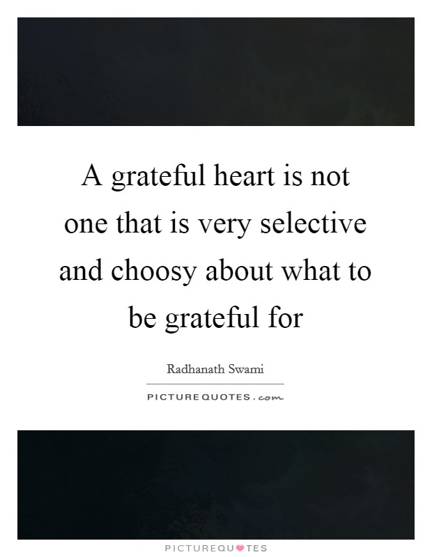 A grateful heart is not one that is very selective and choosy about what to be grateful for Picture Quote #1