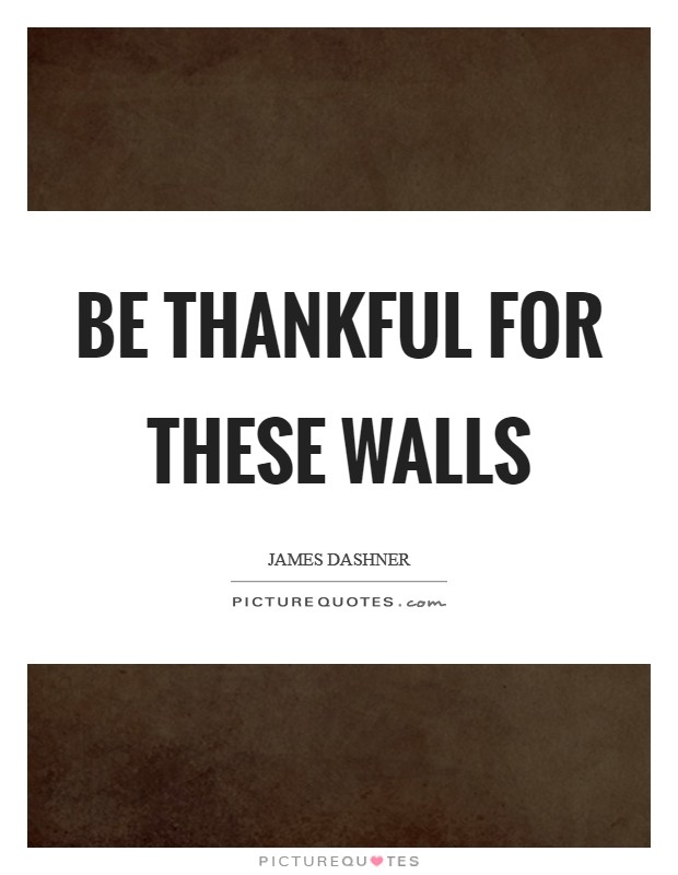 Be thankful for these walls Picture Quote #1