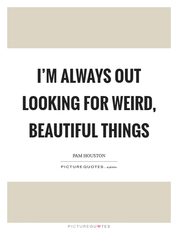 I'm always out looking for weird, beautiful things Picture Quote #1
