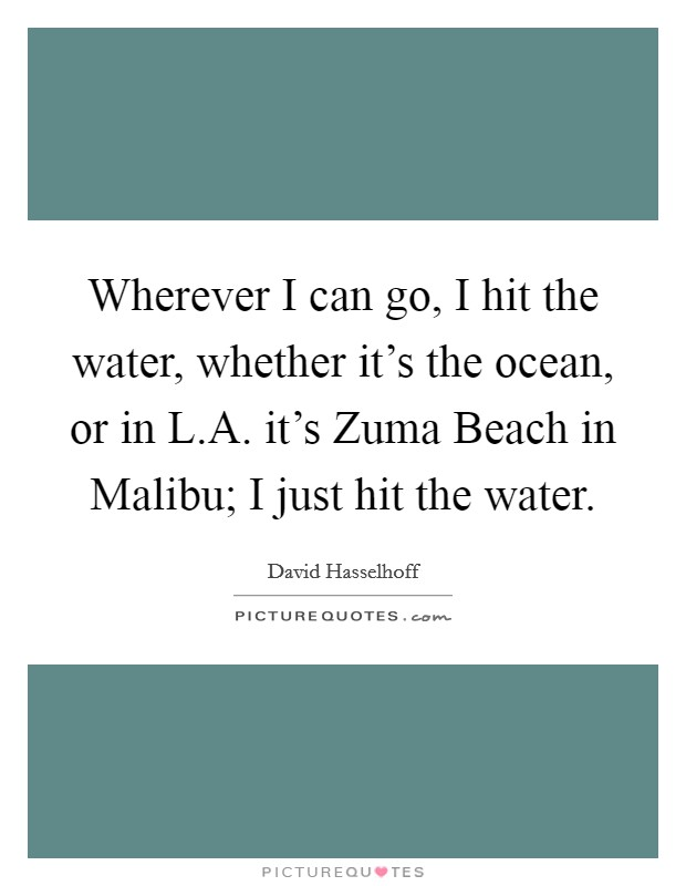 Wherever I can go, I hit the water, whether it's the ocean, or in L.A. it's Zuma Beach in Malibu; I just hit the water Picture Quote #1