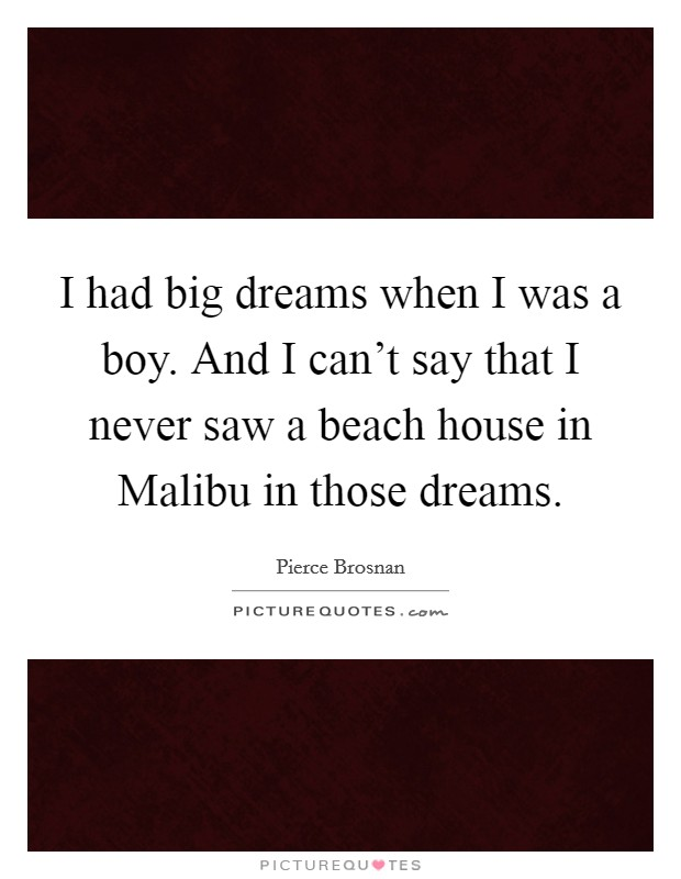I had big dreams when I was a boy. And I can't say that I never saw a beach house in Malibu in those dreams Picture Quote #1