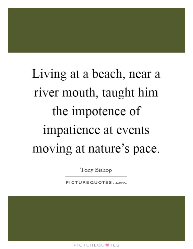 Living at a beach, near a river mouth, taught him the impotence of impatience at events moving at nature's pace Picture Quote #1