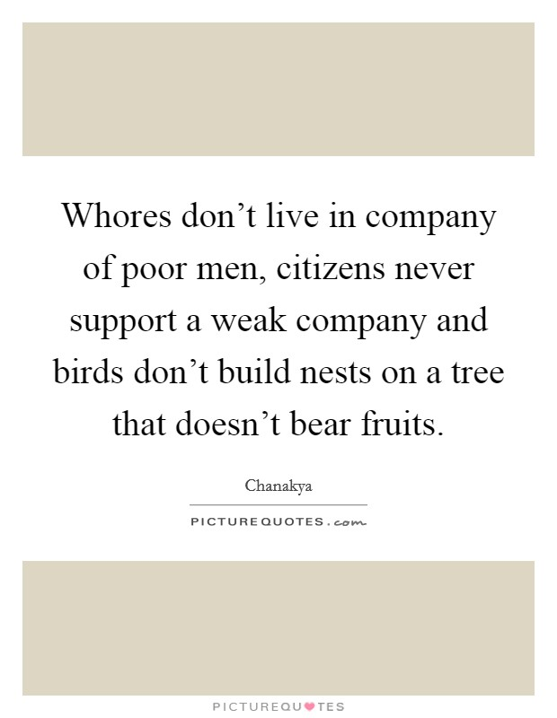 Whores don't live in company of poor men, citizens never support a weak company and birds don't build nests on a tree that doesn't bear fruits Picture Quote #1
