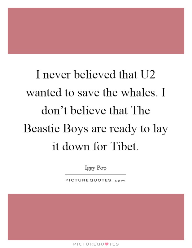 I never believed that U2 wanted to save the whales. I don't believe that The Beastie Boys are ready to lay it down for Tibet Picture Quote #1