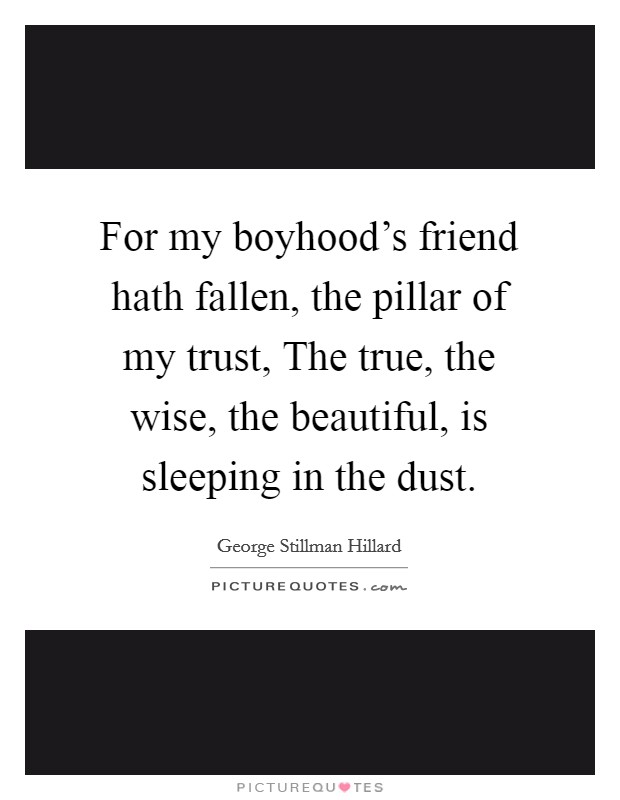 For my boyhood's friend hath fallen, the pillar of my trust, The true, the wise, the beautiful, is sleeping in the dust Picture Quote #1