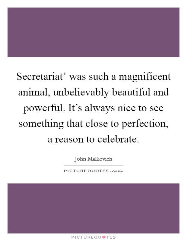 Secretariat' was such a magnificent animal, unbelievably beautiful and powerful. It's always nice to see something that close to perfection, a reason to celebrate Picture Quote #1