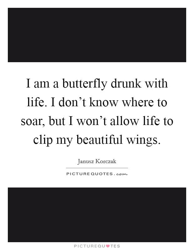 I am a butterfly drunk with life. I don't know where to soar, but I won't allow life to clip my beautiful wings Picture Quote #1