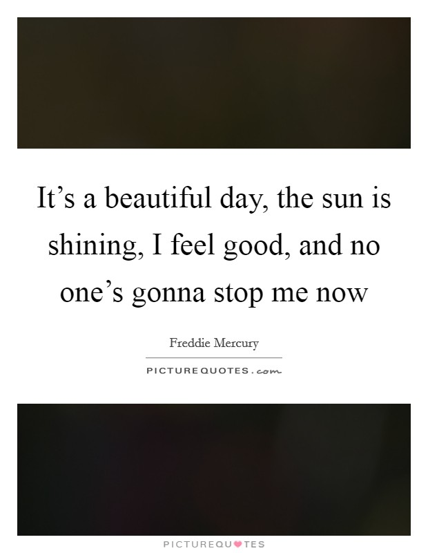 It's a beautiful day, the sun is shining, I feel good, and no one's gonna stop me now Picture Quote #1