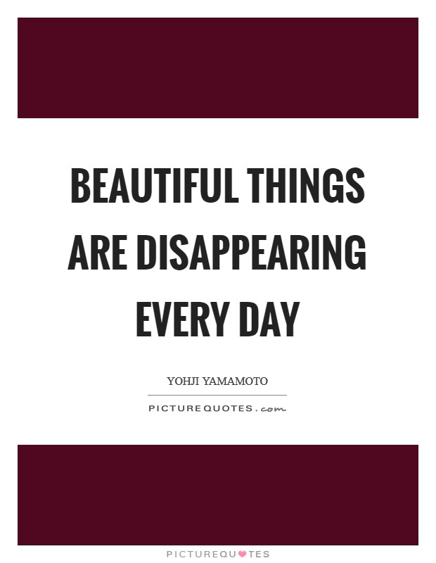 Beautiful things are disappearing every day Picture Quote #1