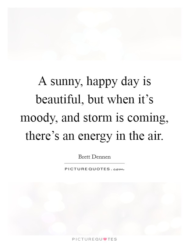 A sunny, happy day is beautiful, but when it's moody, and storm is coming, there's an energy in the air Picture Quote #1