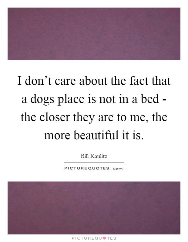 I don't care about the fact that a dogs place is not in a bed - the closer they are to me, the more beautiful it is Picture Quote #1
