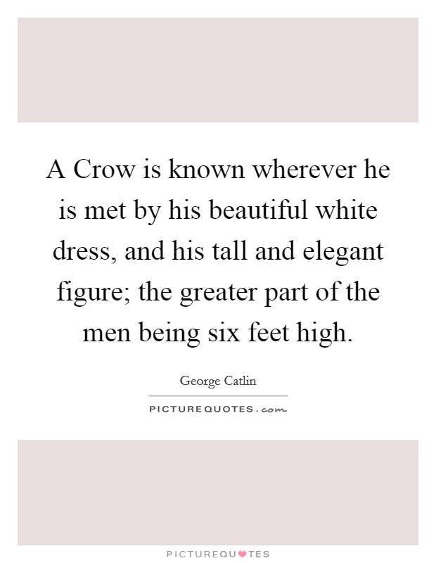 A Crow is known wherever he is met by his beautiful white dress, and his tall and elegant figure; the greater part of the men being six feet high Picture Quote #1