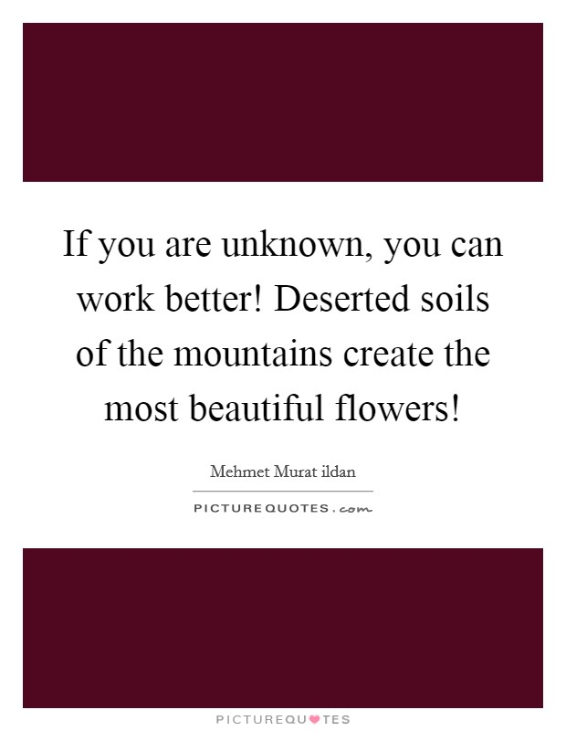 If you are unknown, you can work better! Deserted soils of the mountains create the most beautiful flowers! Picture Quote #1