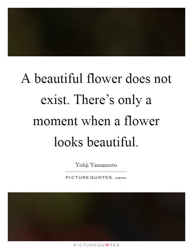 A beautiful flower does not exist. There's only a moment when a flower looks beautiful Picture Quote #1