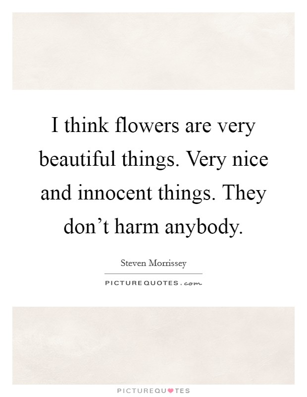 I think flowers are very beautiful things. Very nice and innocent things. They don't harm anybody Picture Quote #1