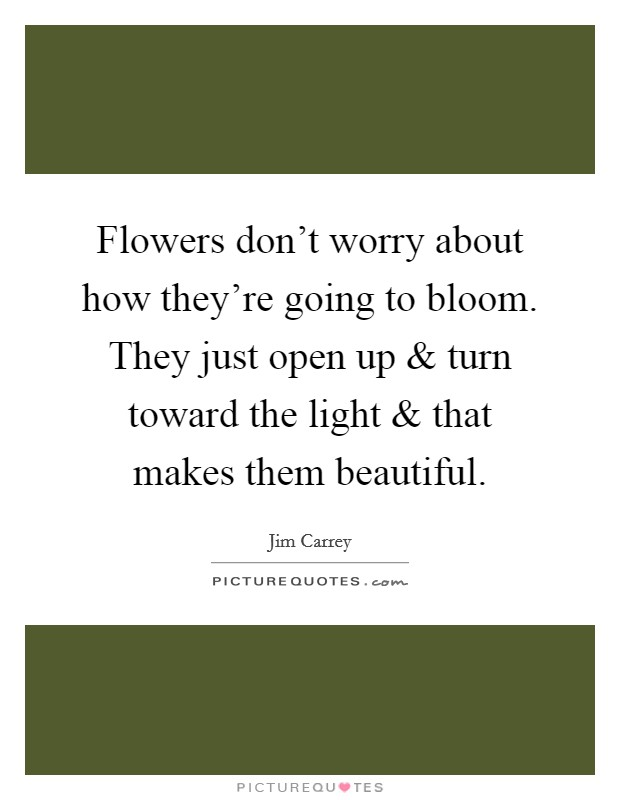 Flowers don't worry about how they're going to bloom. They just open up and turn toward the light and that makes them beautiful Picture Quote #1