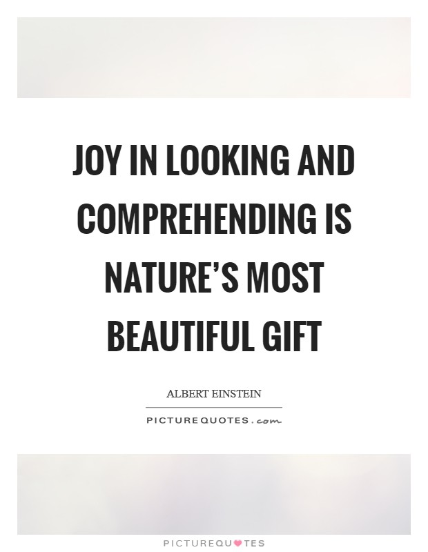 Joy in looking and comprehending is nature's most beautiful gift Picture Quote #1