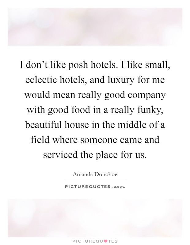 I don't like posh hotels. I like small, eclectic hotels, and luxury for me would mean really good company with good food in a really funky, beautiful house in the middle of a field where someone came and serviced the place for us Picture Quote #1