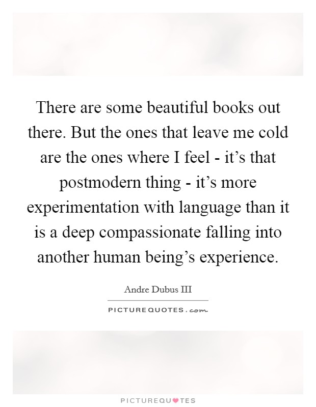 There are some beautiful books out there. But the ones that leave me cold are the ones where I feel - it's that postmodern thing - it's more experimentation with language than it is a deep compassionate falling into another human being's experience Picture Quote #1