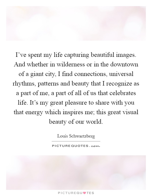 I've spent my life capturing beautiful images. And whether in wilderness or in the downtown of a giant city, I find connections, universal rhythms, patterns and beauty that I recognize as a part of me, a part of all of us that celebrates life. It's my great pleasure to share with you that energy which inspires me; this great visual beauty of our world Picture Quote #1