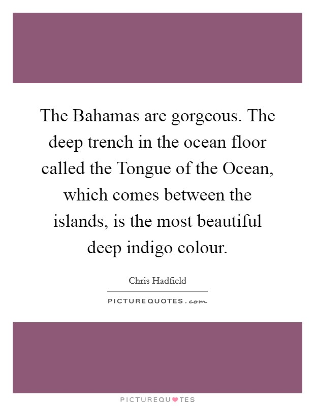 The Bahamas are gorgeous. The deep trench in the ocean floor called the Tongue of the Ocean, which comes between the islands, is the most beautiful deep indigo colour Picture Quote #1