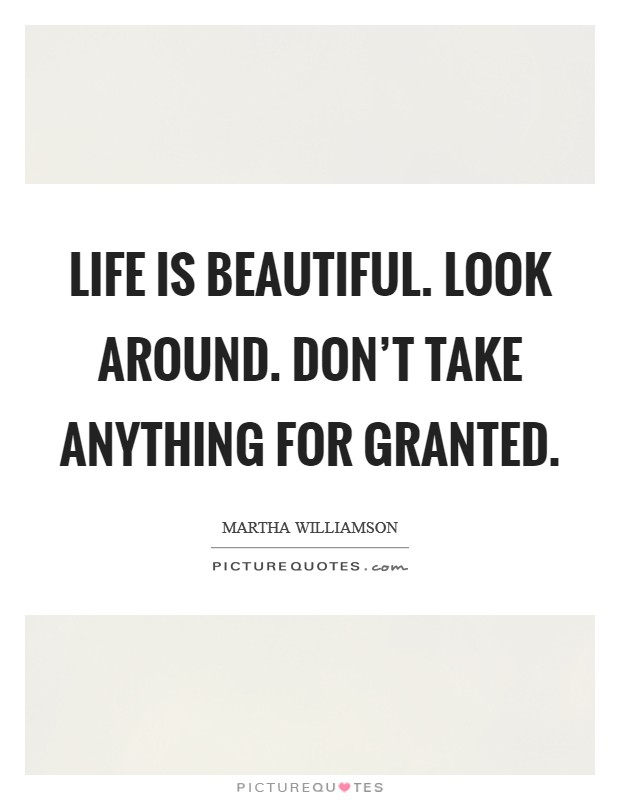 Life Is Beautiful Look Around Don't Take Anything For Granted Awesome Taking Life For Granted Quotes