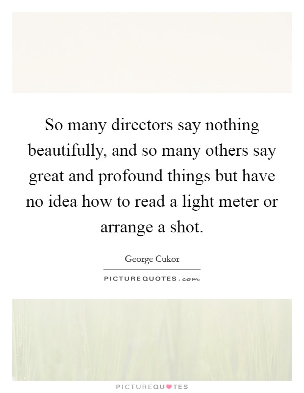 So many directors say nothing beautifully, and so many others say great and profound things but have no idea how to read a light meter or arrange a shot Picture Quote #1