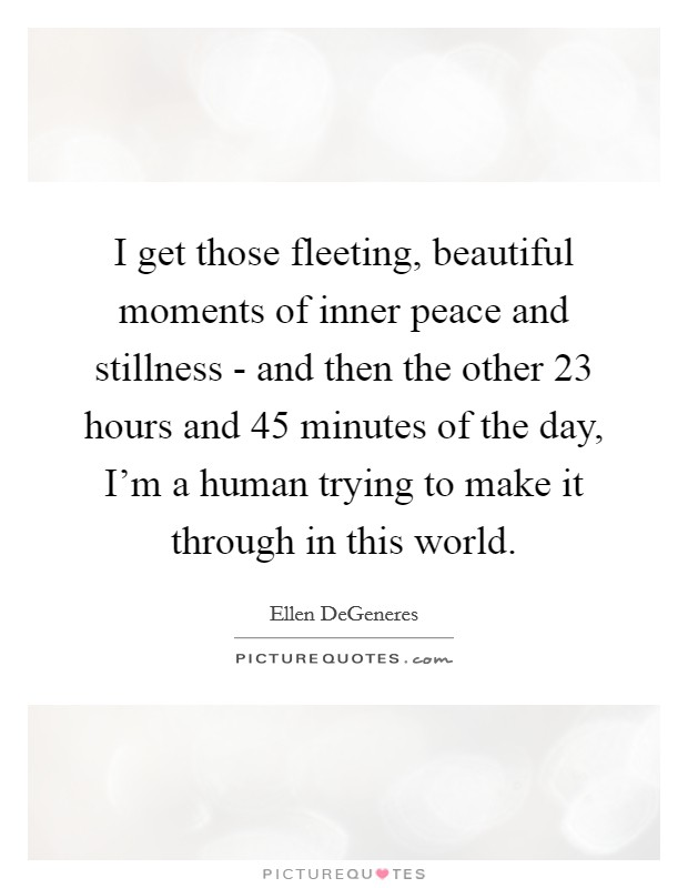 I get those fleeting, beautiful moments of inner peace and stillness - and then the other 23 hours and 45 minutes of the day, I'm a human trying to make it through in this world Picture Quote #1