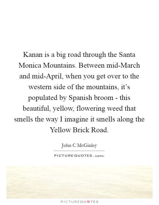 Kanan is a big road through the Santa Monica Mountains. Between mid-March and mid-April, when you get over to the western side of the mountains, it's populated by Spanish broom - this beautiful, yellow, flowering weed that smells the way I imagine it smells along the Yellow Brick Road Picture Quote #1
